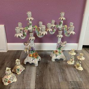 6 piece  German made porcelain Candelabra set